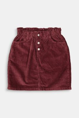 Corduroy skirt with an elasticated paperbag waistband, BORDEAUX RED, detail