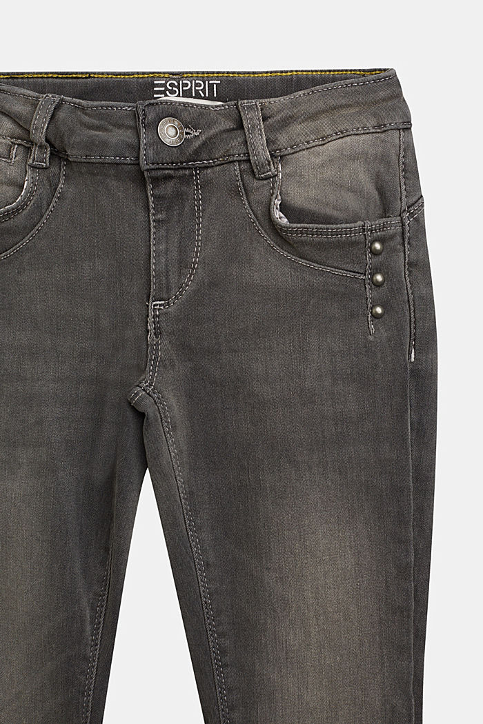 Stretch jeans with decorative studs, GREY DARK WASHED, detail image number 2