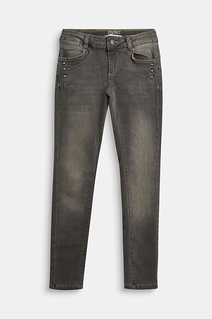 Stretch jeans with decorative studs, GREY DARK WASHED, detail image number 0