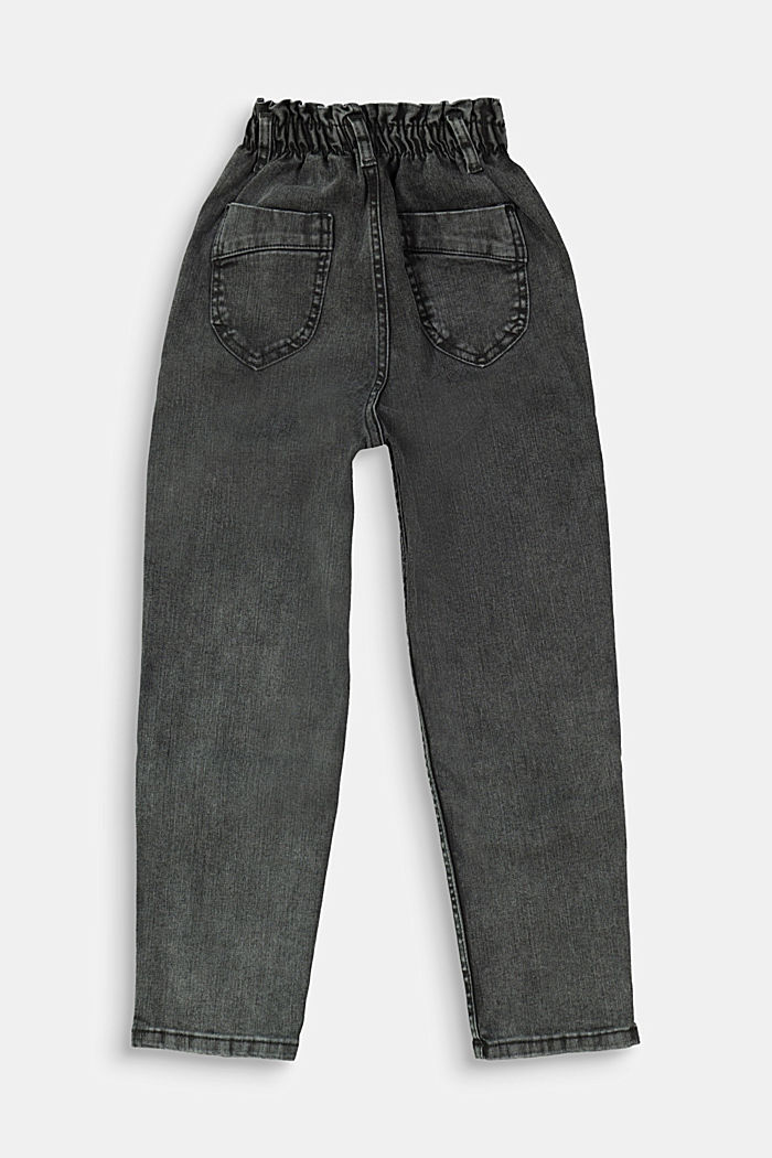 Jeans with an elasticated paperbag waistband, GREY DARK WASHED, detail image number 1