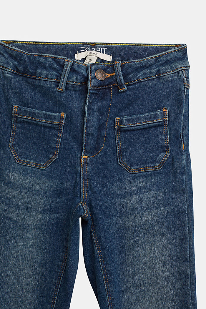 Stretch jeans with patch pockets, BLUE MEDIUM WASHED, detail image number 2