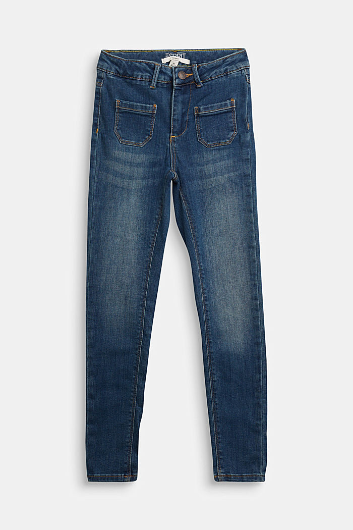 Stretch jeans with patch pockets, BLUE MEDIUM WASHED, detail image number 0