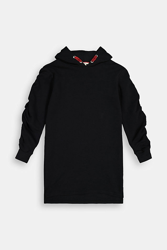 Sweatshirt dress in 100% cotton, BLACK, detail image number 0