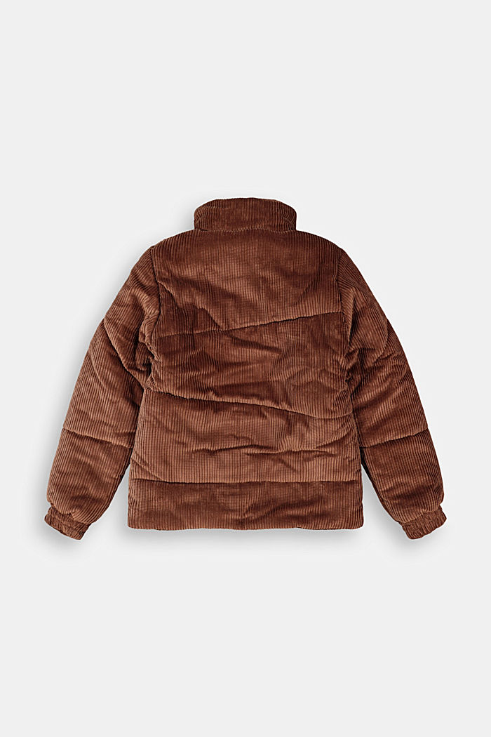 Padded outdoor jacket made of corduroy, DARK BROWN, detail image number 1