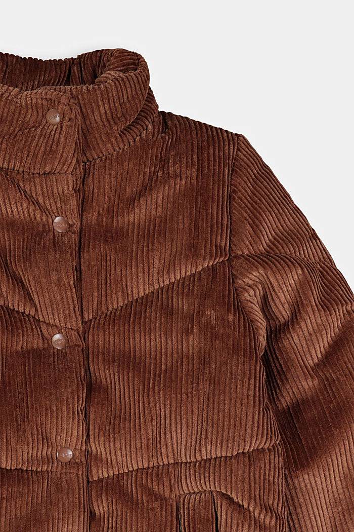 Padded outdoor jacket made of corduroy, DARK BROWN, detail image number 2