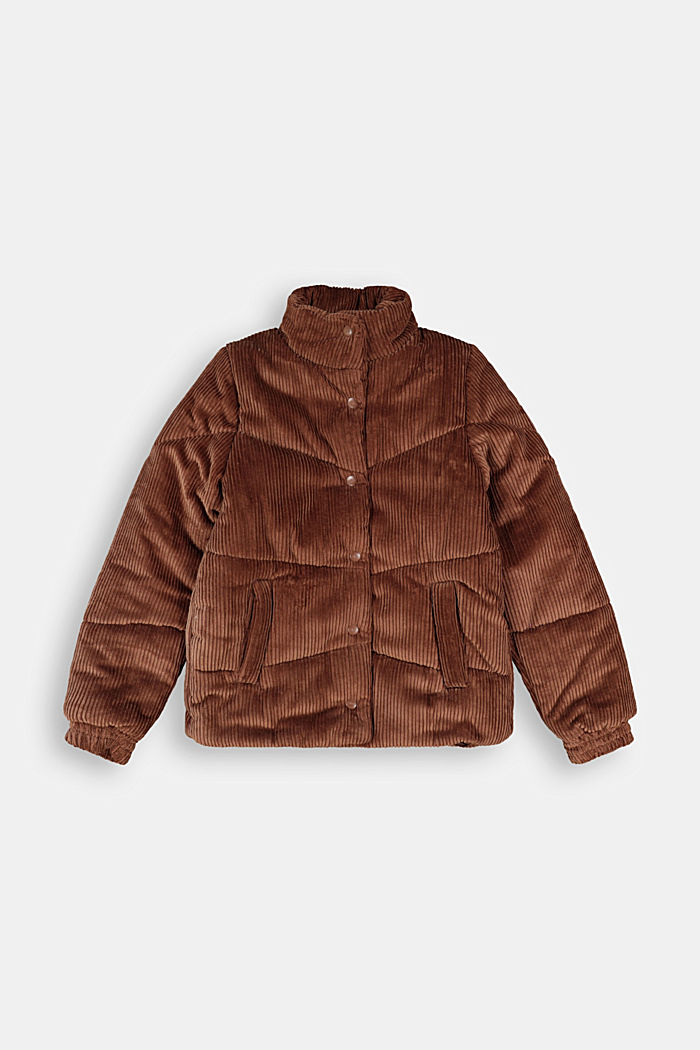 Padded outdoor jacket made of corduroy, DARK BROWN, detail image number 0