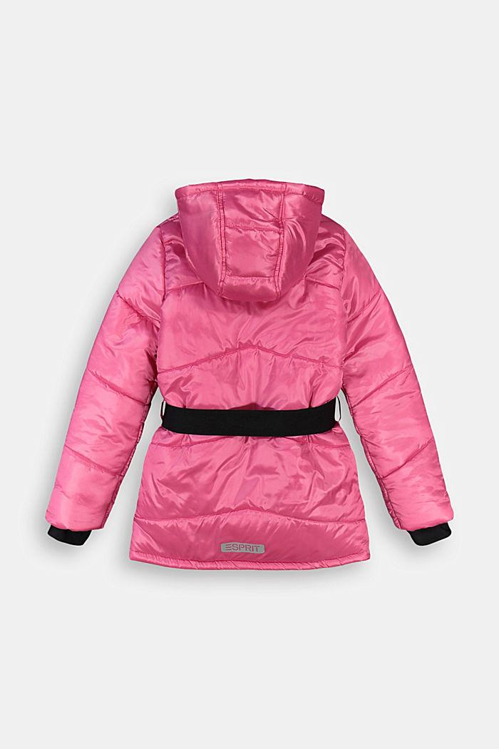 Gewatteerde jas met ceintuur en fleece voering