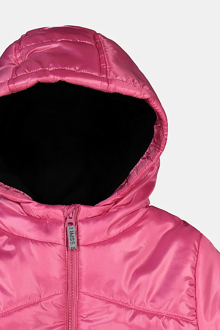 Gewatteerde jas met ceintuur en fleece voering, PINK, detail image number 2