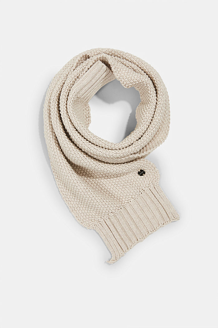 Knitted scarf with textured finish, SAND, overview