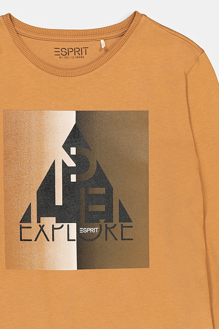 Printed long sleeve top in 100% cotton, CAMEL, detail image number 2
