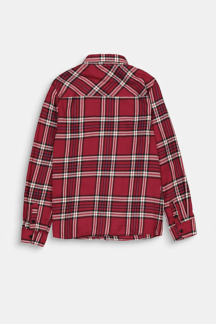 Check flannel shirt in 100% cotton, DARK RED, detail image number 1