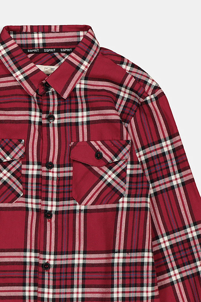 Check flannel shirt in 100% cotton, DARK RED, detail image number 2