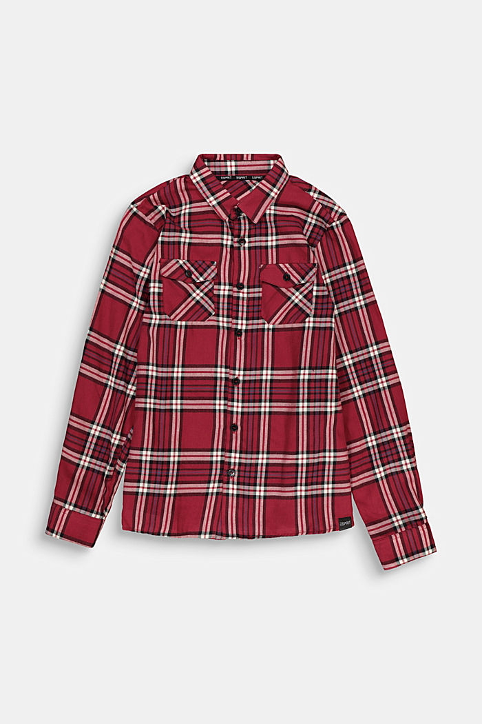 Check flannel shirt in 100% cotton, DARK RED, detail image number 0