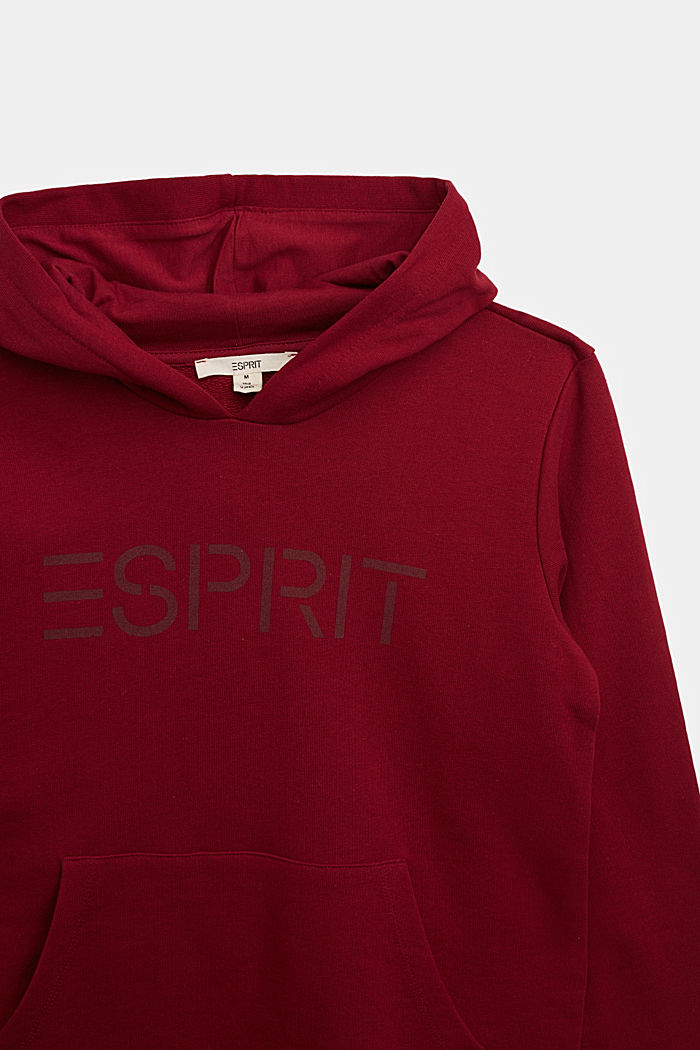 Hoodie in 100% cotton, DARK RED, detail image number 2