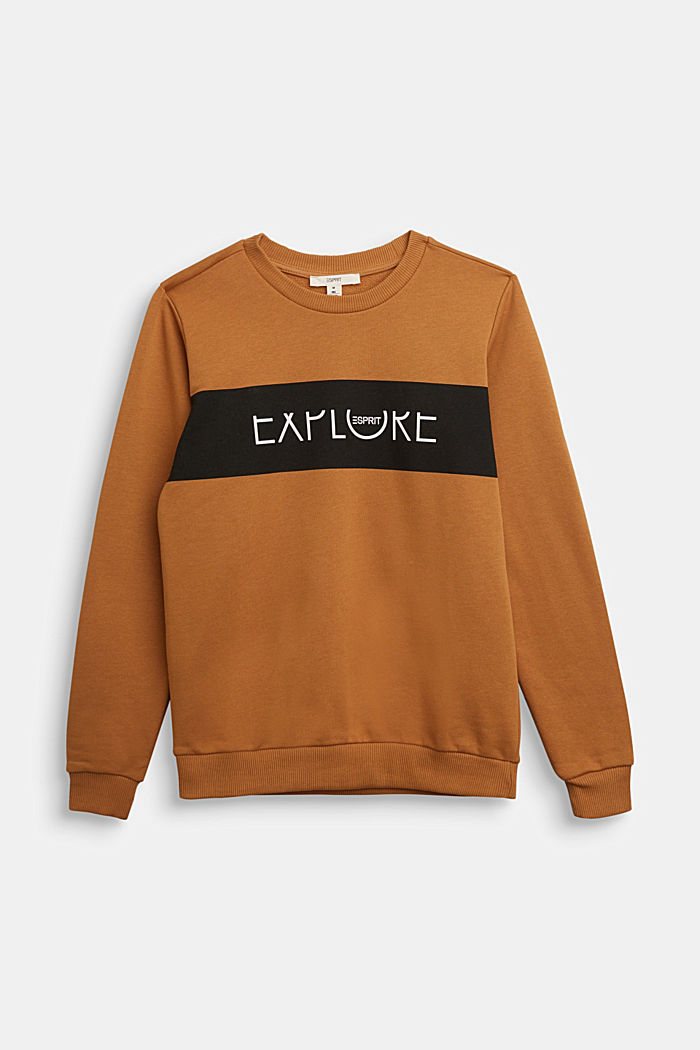 Sweatshirt in 100% cotton, CAMEL, detail image number 0