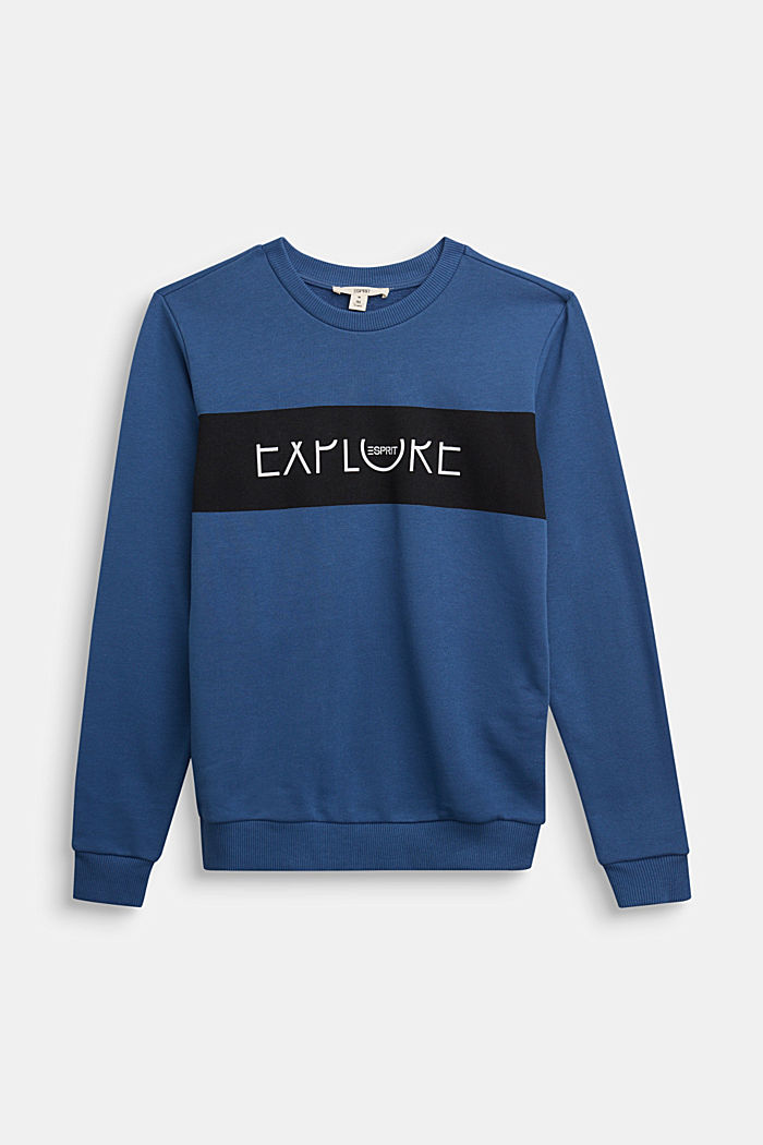 Sweatshirt in 100% cotton, BLUE, detail image number 0