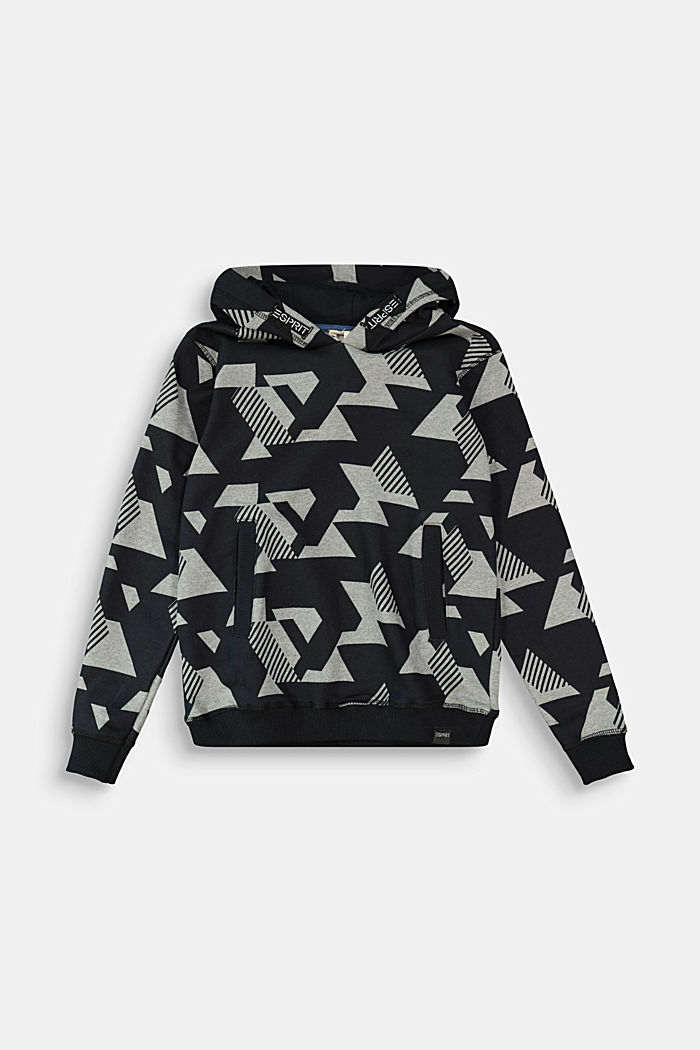 Graphically printed hoodie, 100% cotton, DARK GREY, detail image number 0