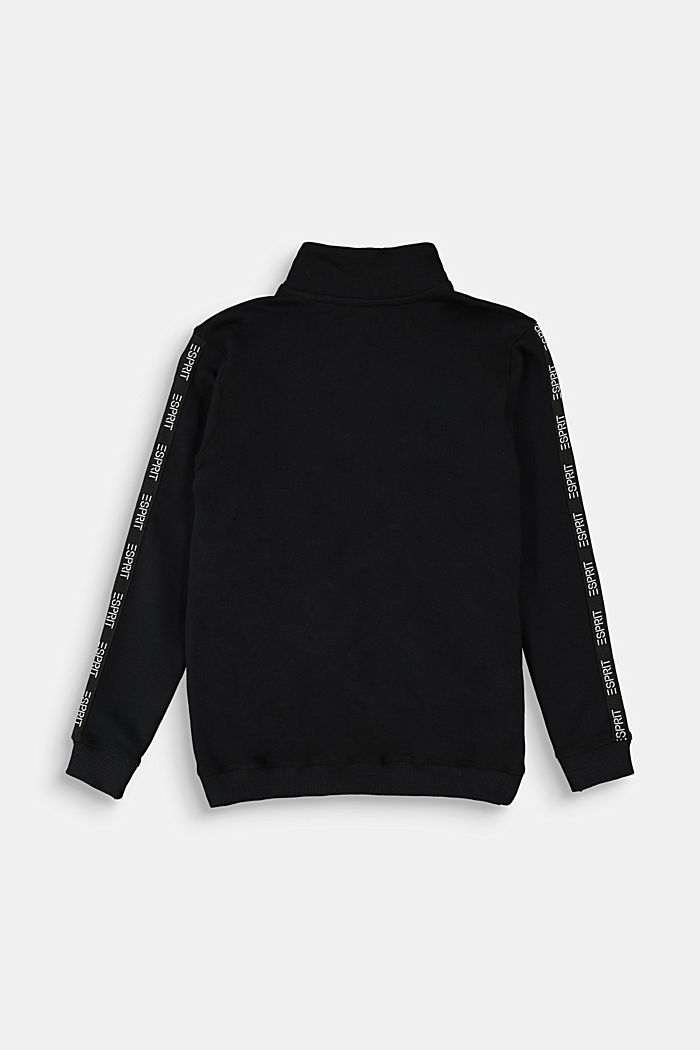 Sweatshirt jacket made of 100% cotton, BLACK, detail image number 1