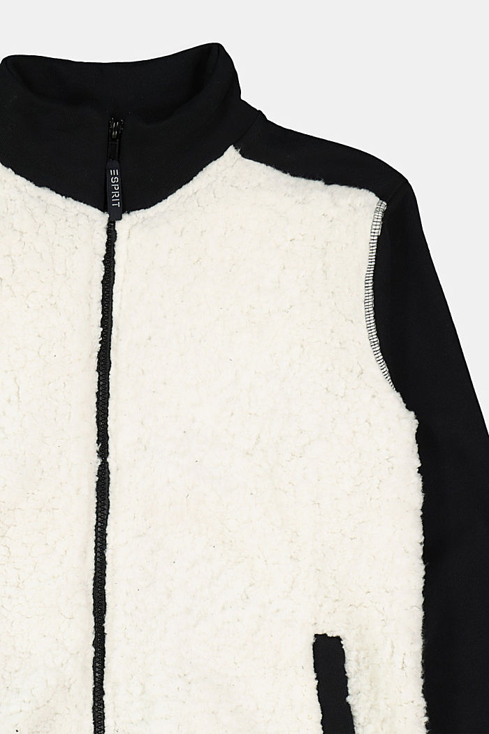 Sweatshirt jacket made of 100% cotton, BLACK, detail image number 2
