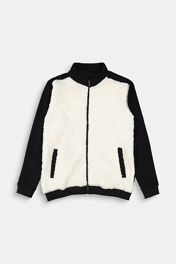 Sweatshirt jacket made of 100% cotton, BLACK, detail image number 0