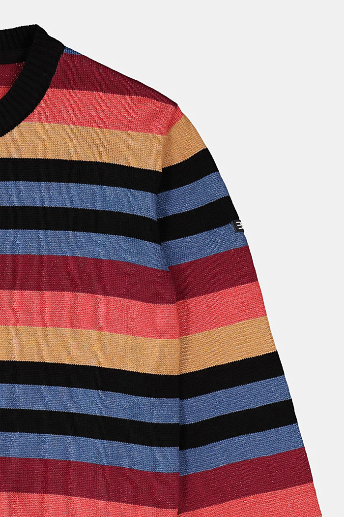 Colourful striped jumper made of 100% cotton, BLUE, detail image number 2
