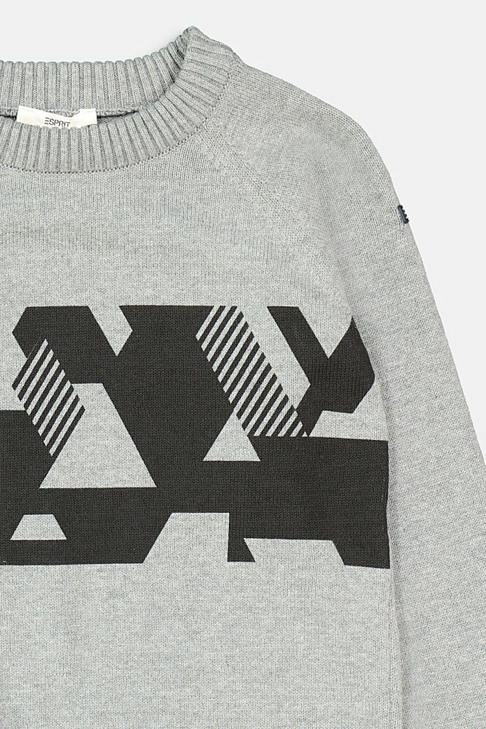 Graphic print jumper, 100% cotton, DARK GREY, detail image number 2