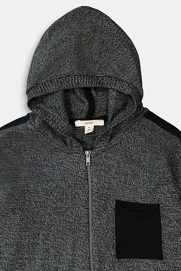 Melange knit zip-up cardigan, BLACK, detail image number 2
