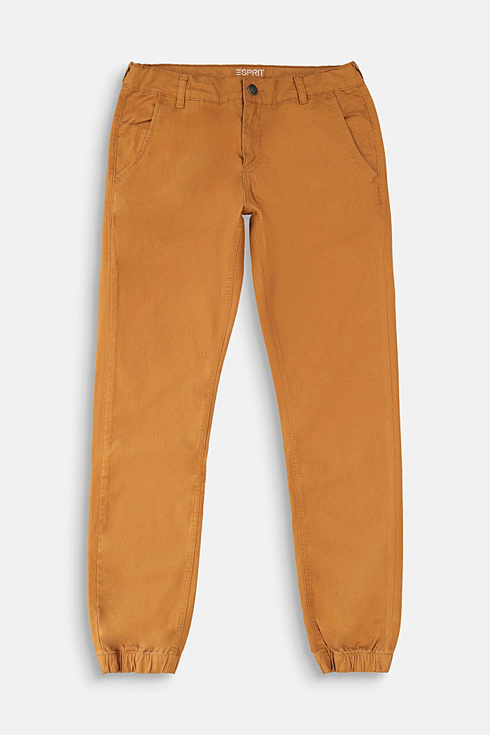 Chinos with elasticated cuffs, CAMEL, detail image number 0