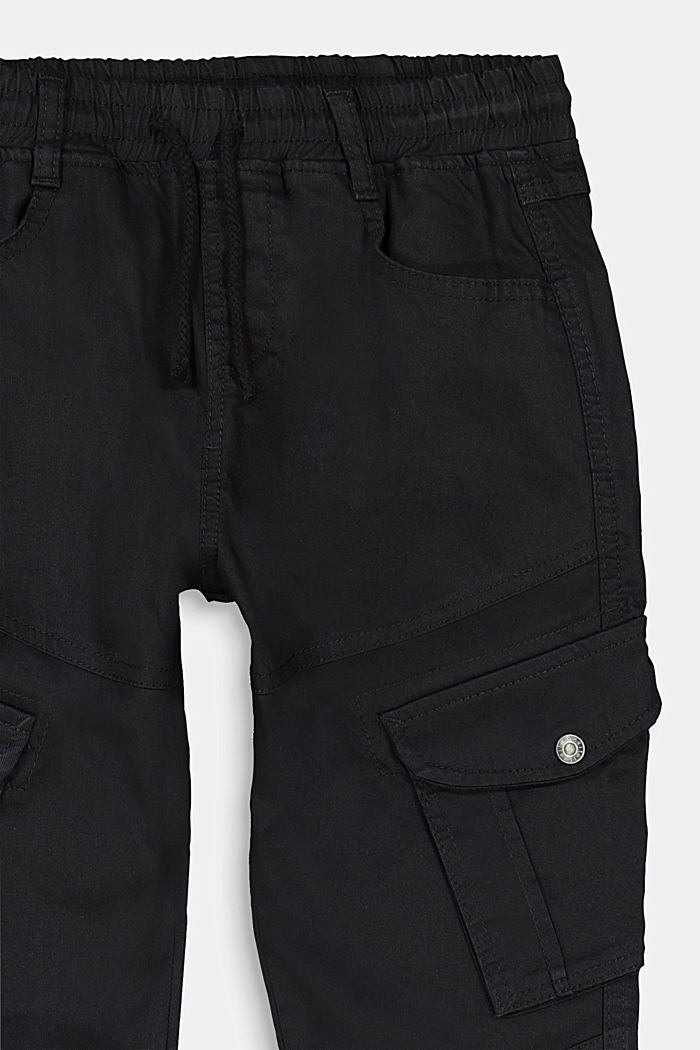 Stretch cotton cargo trousers, BLACK, detail image number 2