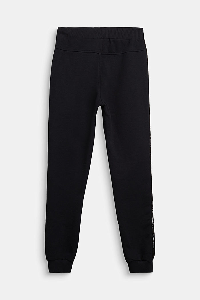 Tracksuit bottoms in 100% cotton, BLACK, detail image number 1