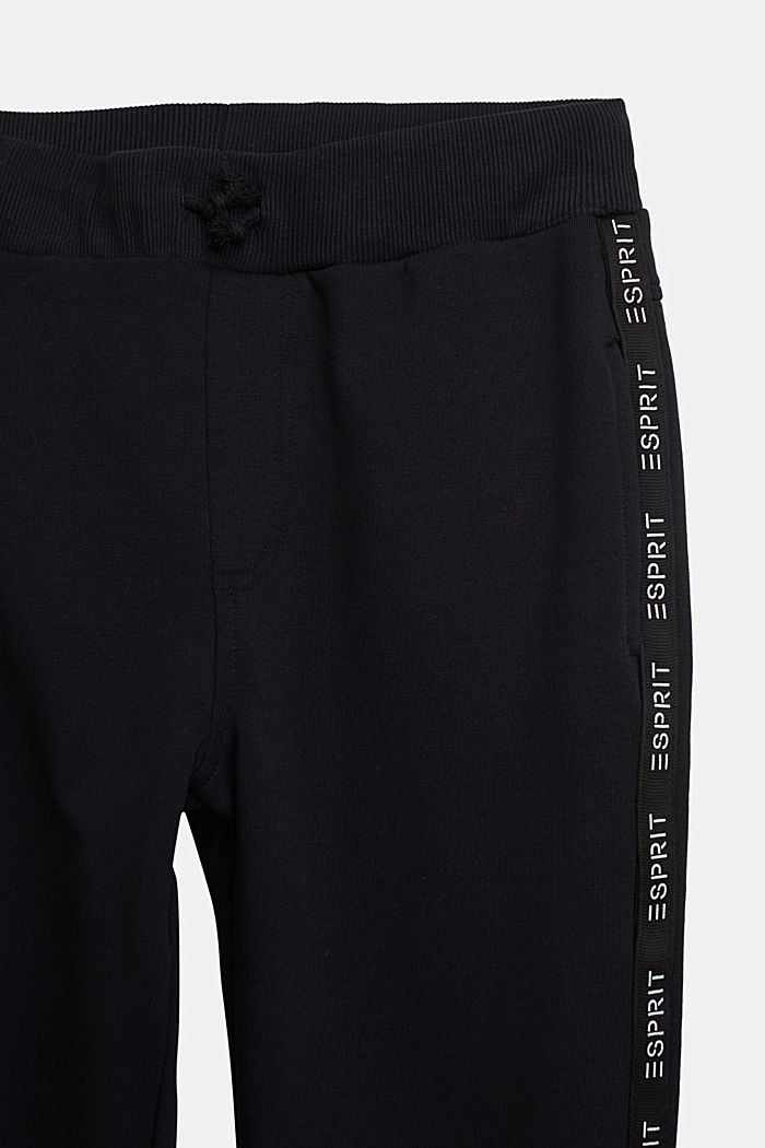 Tracksuit bottoms in 100% cotton, BLACK, detail image number 2