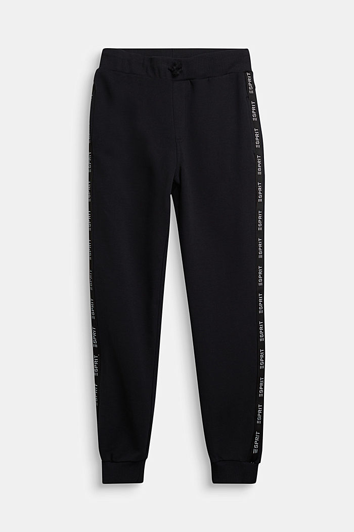 Tracksuit bottoms in 100% cotton, BLACK, detail image number 0