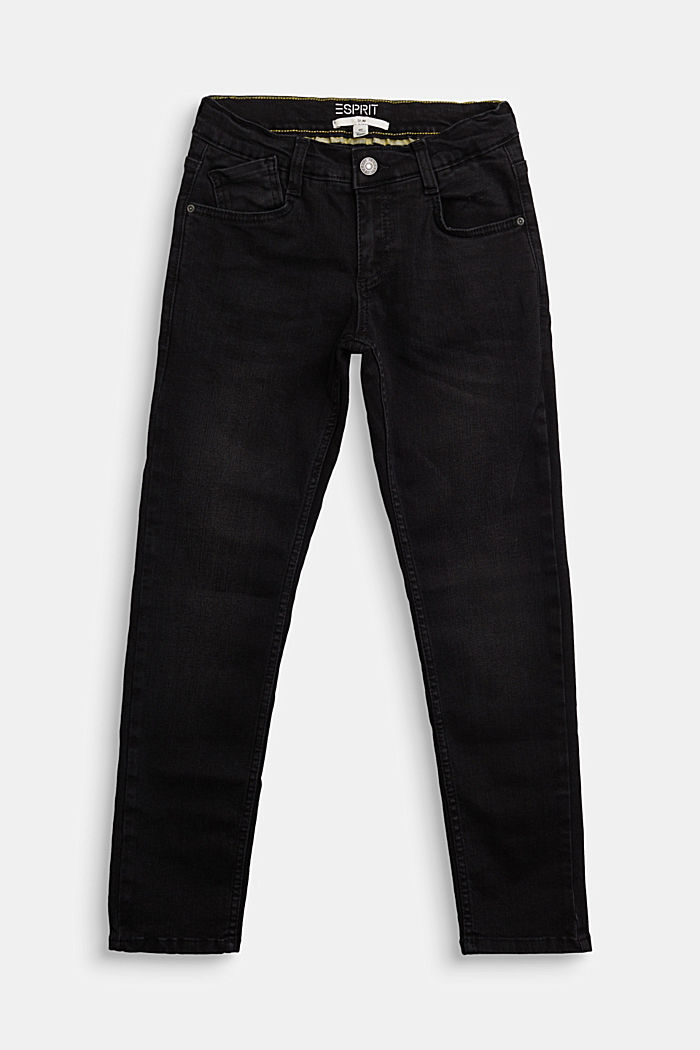 Stretch jeans with an adjustable waist, BLACK DARK WASHED, detail image number 0