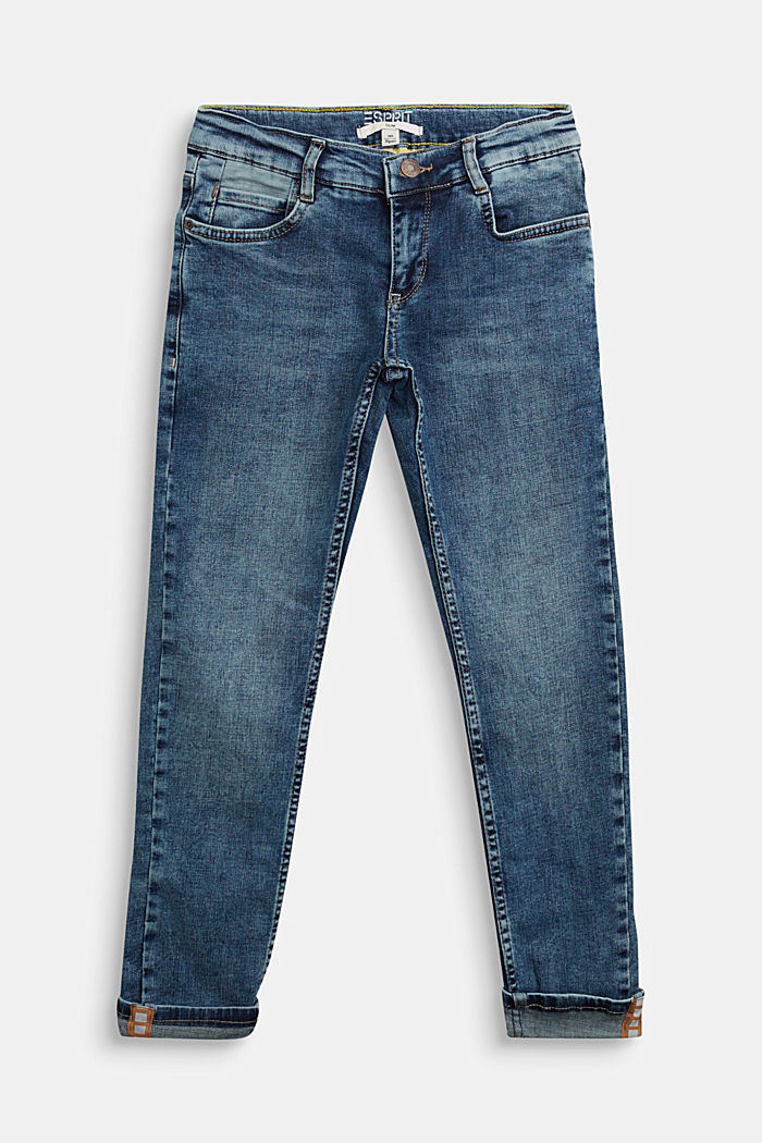 Stretch jeans with an adjustable waist, BLUE MEDIUM WASHED, detail image number 0