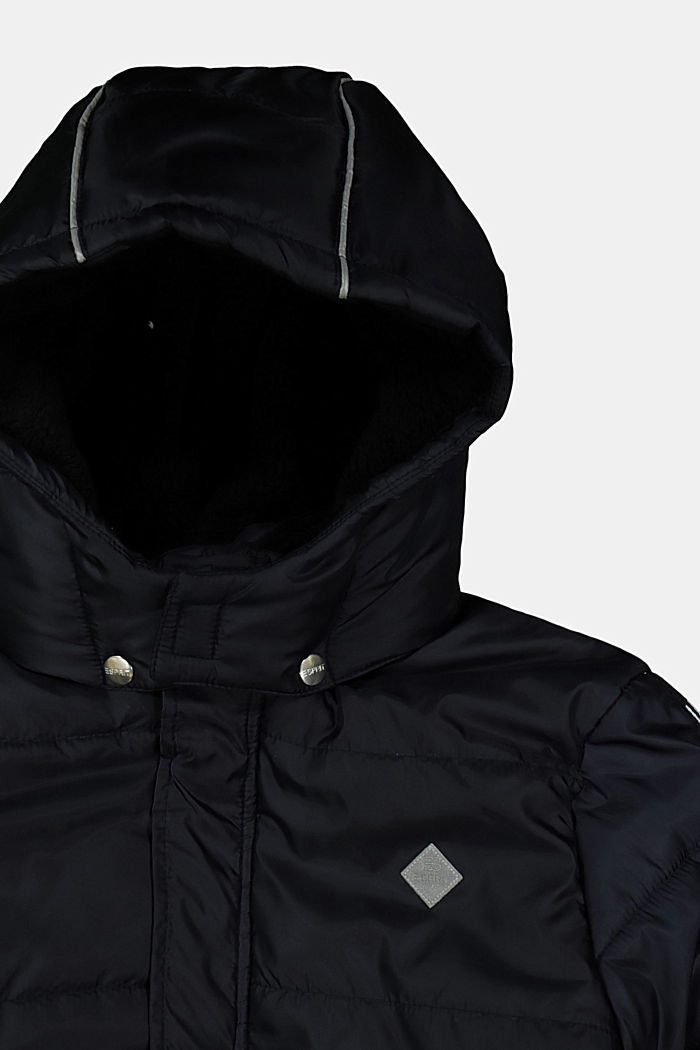 Quilted jacket with faux fur lining, BLACK, detail image number 2
