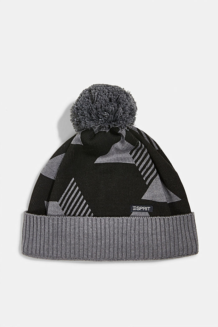 Patterned knit hat with fleece lining