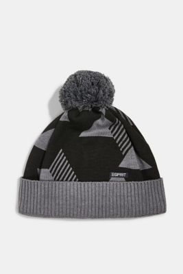 Patterned knit hat with fleece lining, DARK GREY, detail