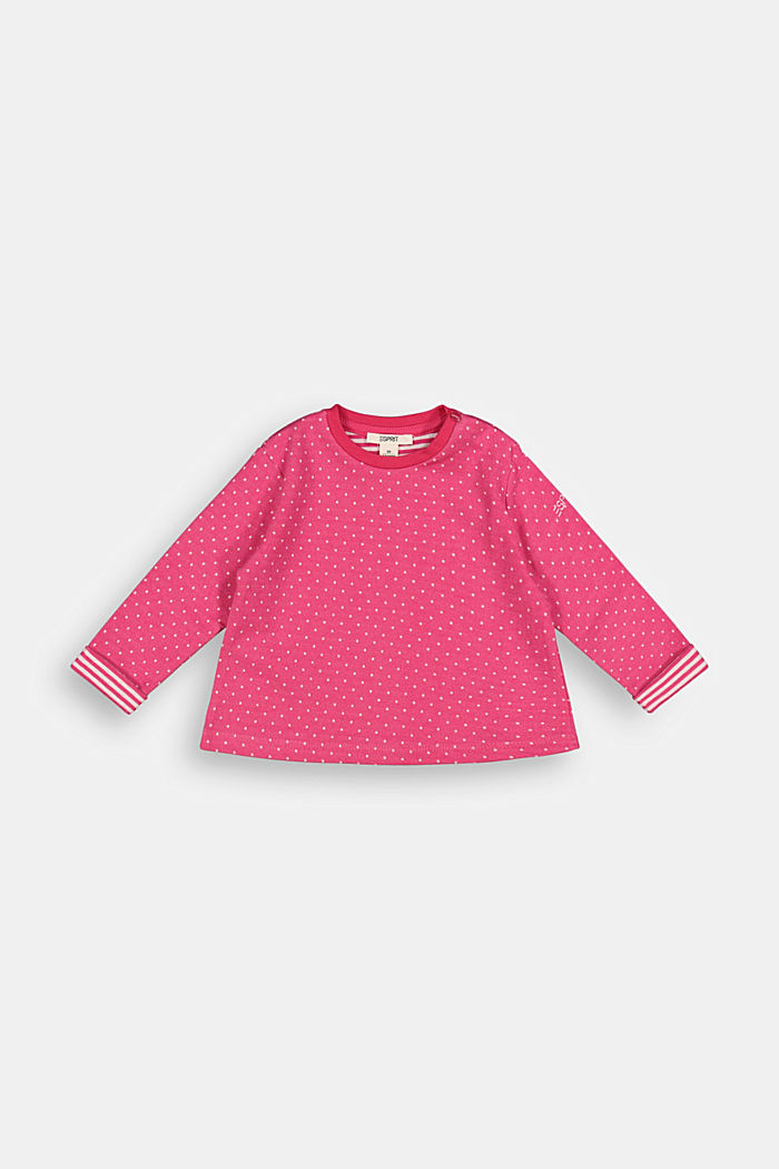 Jacquard long sleeve top with organic cotton