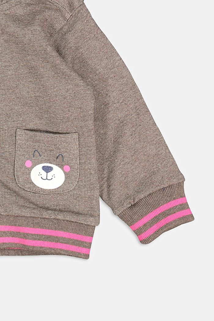 Sweatshirt cardigan with hood, organic cotton, BARK, detail image number 2
