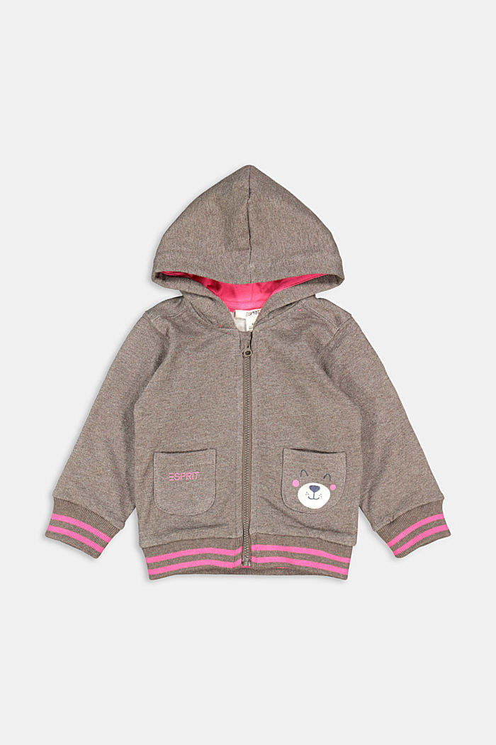 Sweatshirt cardigan with hood, organic cotton