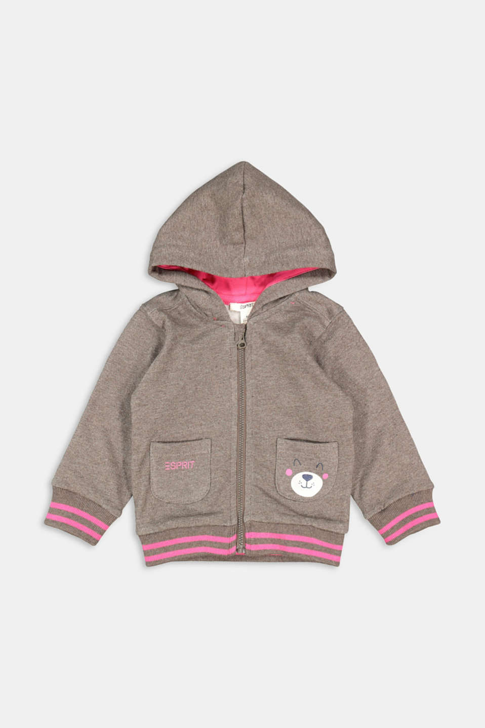 Esprit - Sweatshirt cardigan with hood, organic cotton