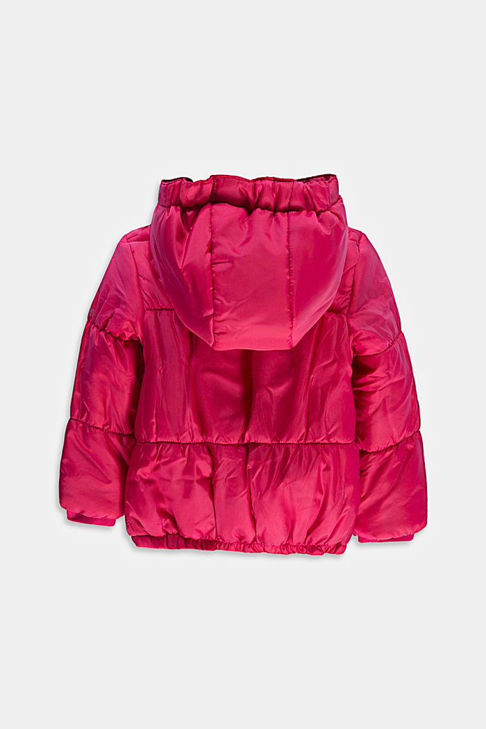 Quilted jacket with a hood and fleece lining, DARK PINK, detail image number 1