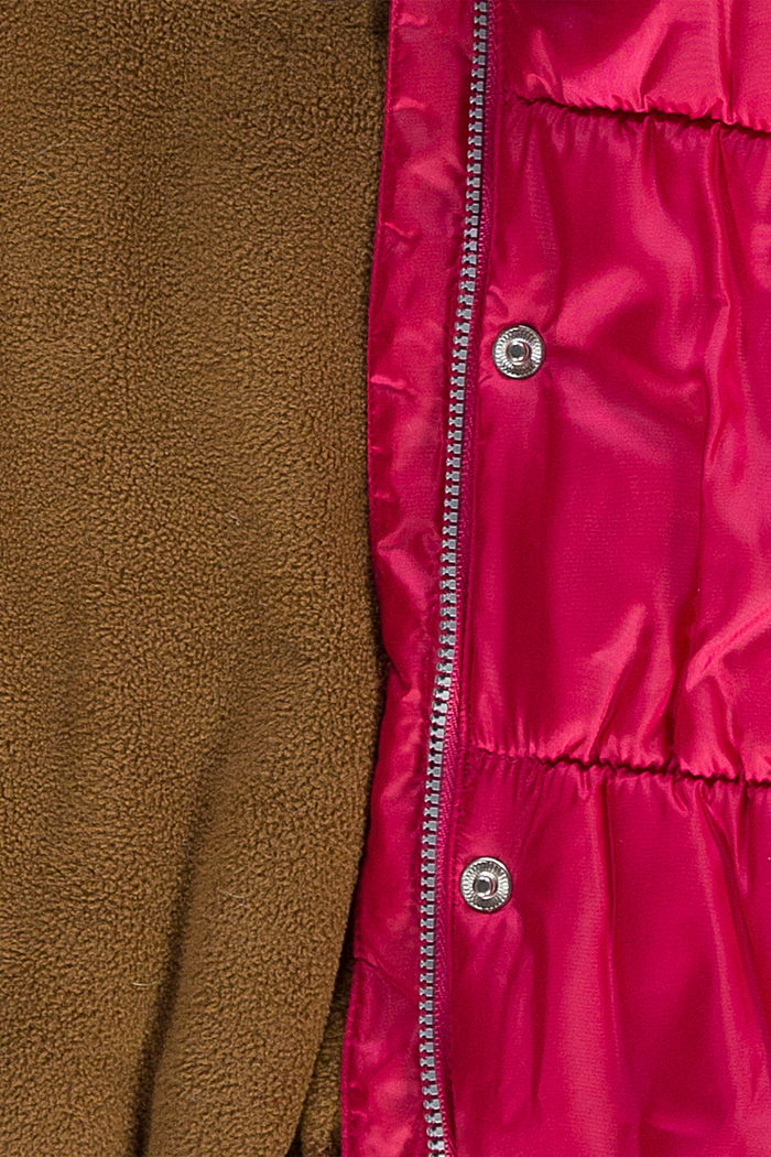 Giacca trapuntata con cappuccio e fodera in pile, DARK PINK, detail image number 2