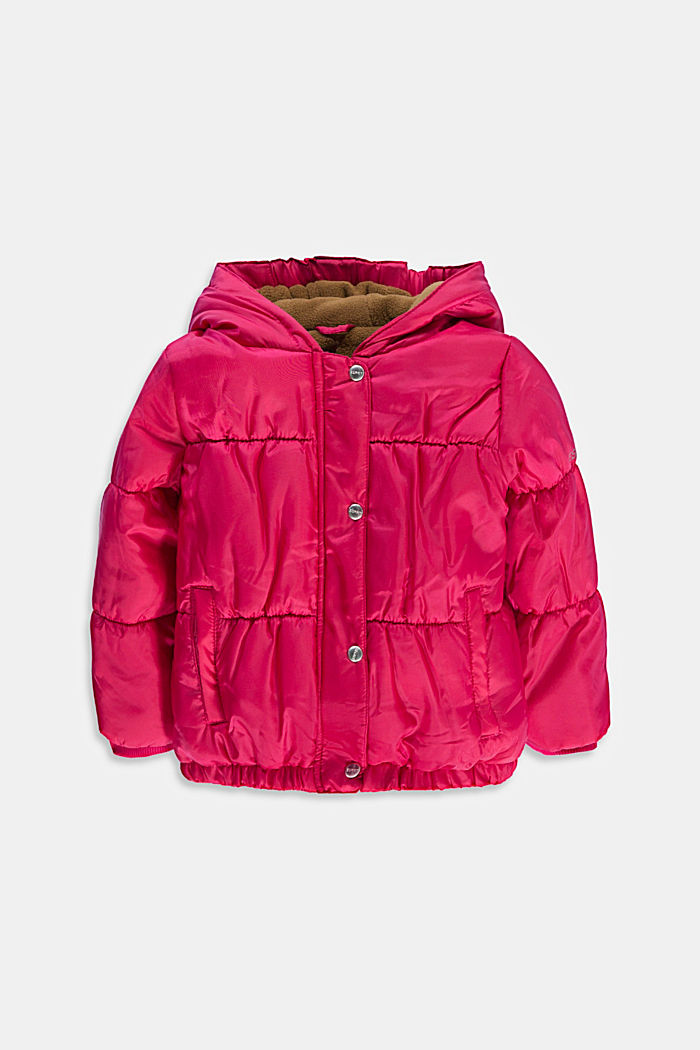 Quilted jacket with a hood and fleece lining, DARK PINK, detail image number 0