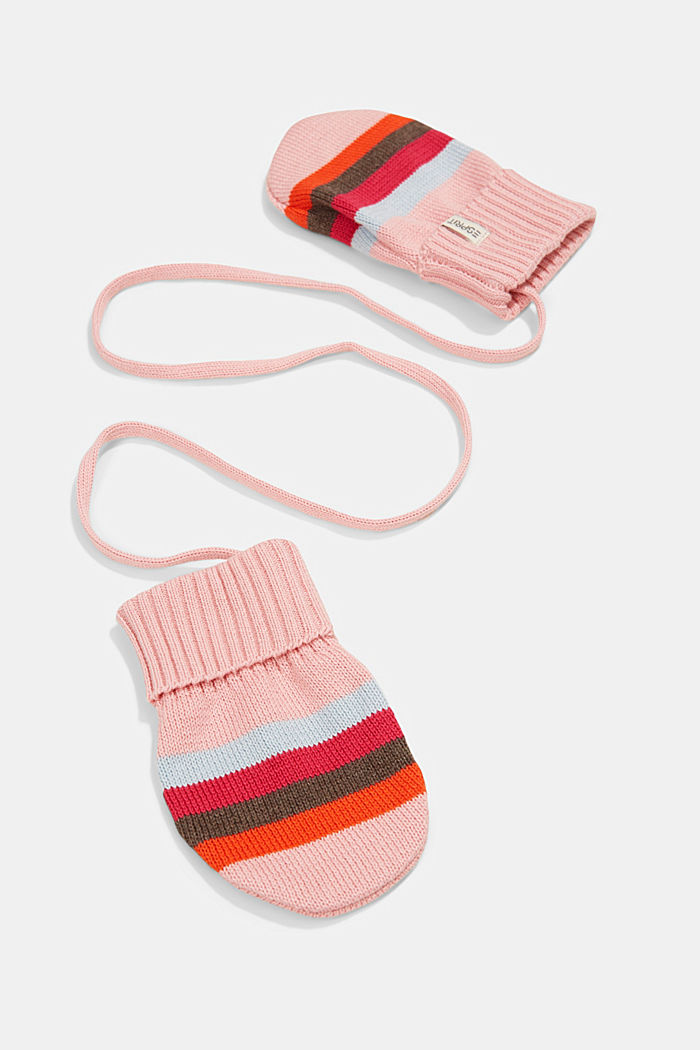 Striped knit mittens