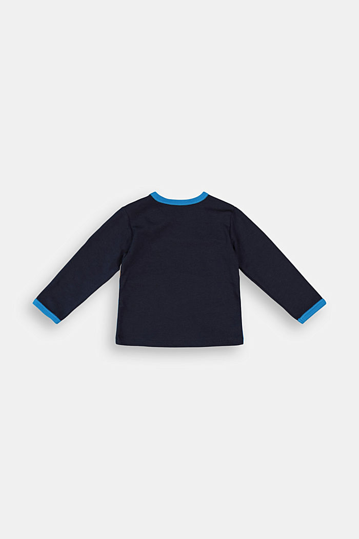 Long sleeve top in a colour block deign with organic cotton, NAVY, detail image number 1