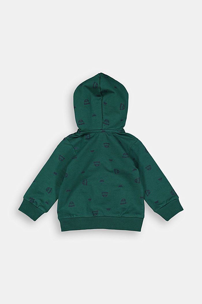 Bear print hoodie, 100% organic cotton, FOREST, detail image number 1