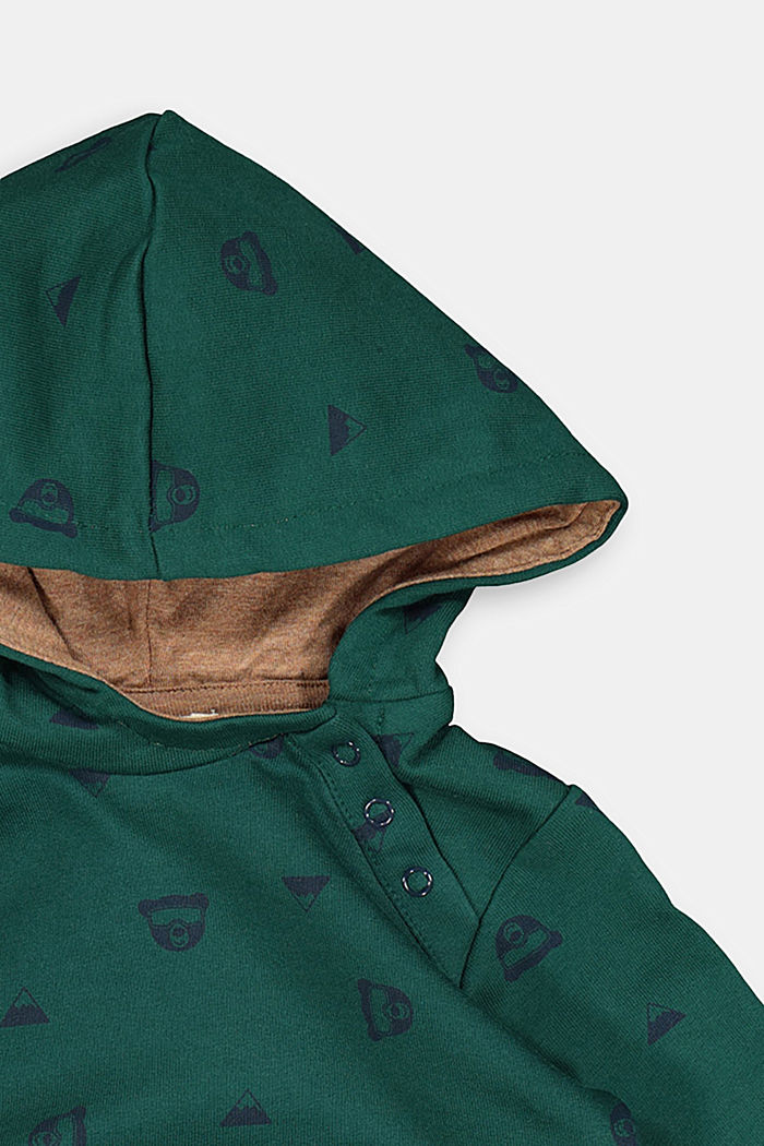 Bear print hoodie, 100% organic cotton, FOREST, detail image number 2