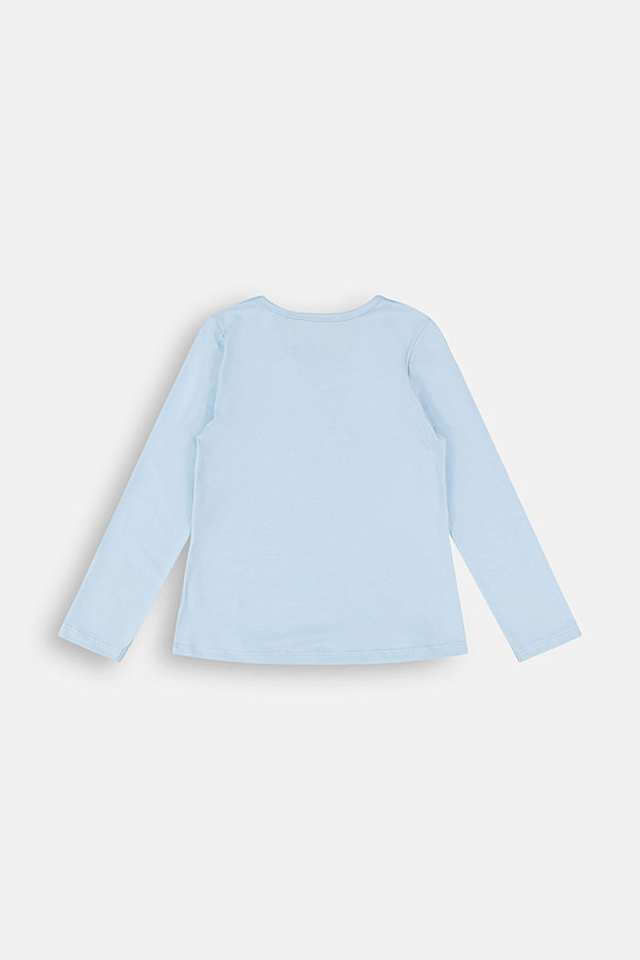 Printed long sleeve top in 100% cotton, BLUE LAVENDER, detail image number 1