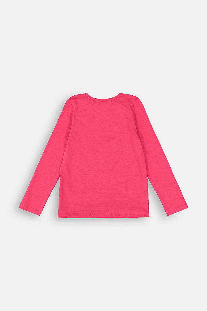 Printed long sleeve top in 100% cotton, DARK PINK, detail image number 1